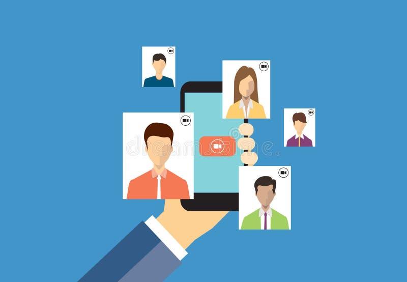 Συνομιλία επιχειρηματιών στην τηλεοπτική έννοια κλήσης ελεύθερη απεικόνιση δικαιώματος