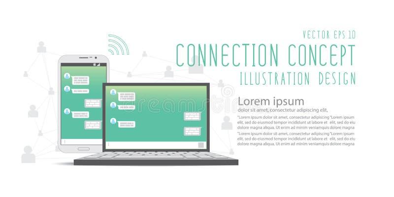 Συνομιλία με κοινωνική εφαρμογή δικτύων με κινητά τηλέφωνο και lap-top απεικόνιση αποθεμάτων
