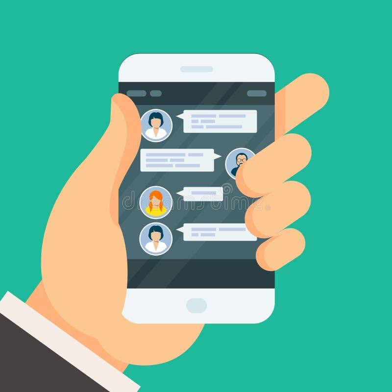 Συνομιλία συνομιλίας στην οθόνη smartphone ελεύθερη απεικόνιση δικαιώματος