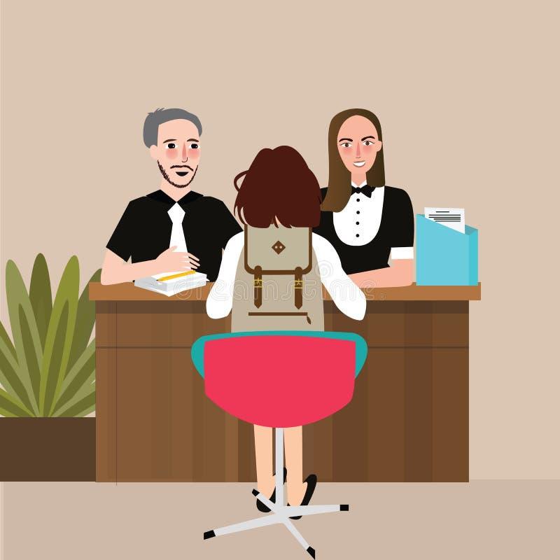 Συνομιλία σχολικών σπουδαστών με την κύρια συνέντευξη δασκάλων διανυσματική απεικόνιση