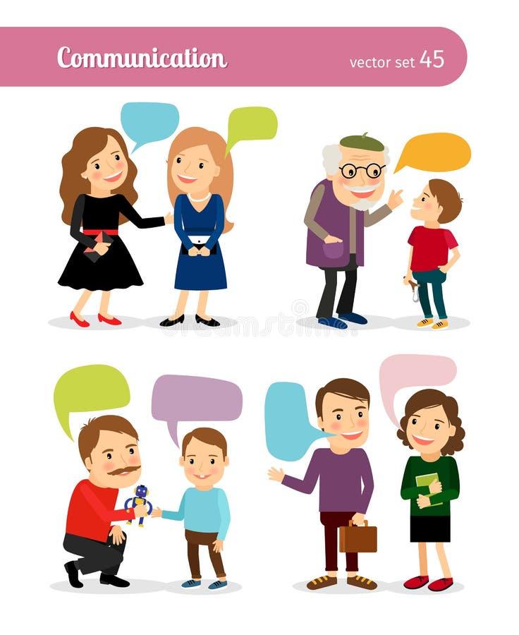 Συνομιλίες ανθρώπων με τις λεκτικές φυσαλίδες ελεύθερη απεικόνιση δικαιώματος