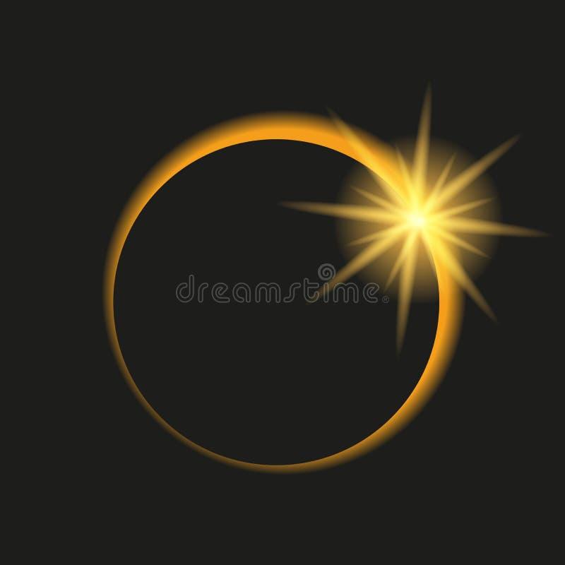 Συνολική έκλειψη του ήλιου στο σκοτεινό ουρανό απεικόνιση αποθεμάτων