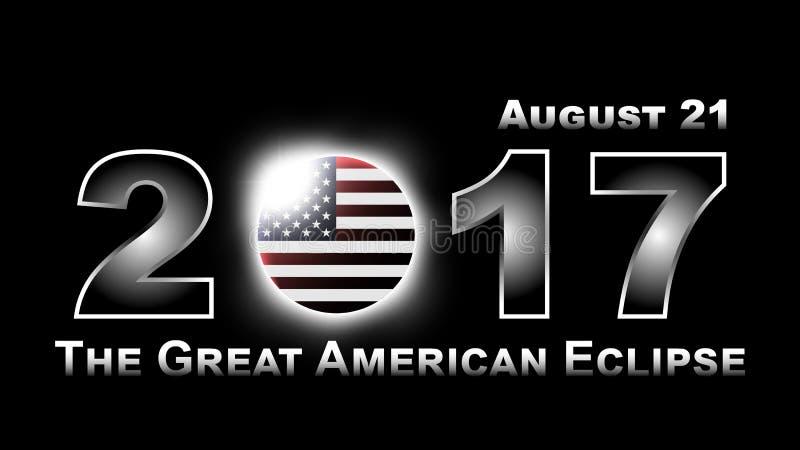 Συνολική ηλιακή έκλειψη που ταξιδεύει στις Ηνωμένες Πολιτείες της Αμερικής στις 21 Αυγούστου 2017 διανυσματική απεικόνιση