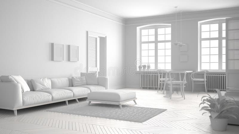 Συνολικό άσπρο Σκανδιναβικό καθιστικό, μινιμαλιστικό εσωτερικό σχέδιο απεικόνιση αποθεμάτων