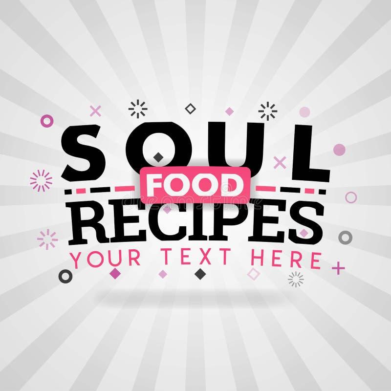 Συνταγές τροφίμων ψυχής για τα υγιή και φρέσκα τρόφιμα ελεύθερη απεικόνιση δικαιώματος