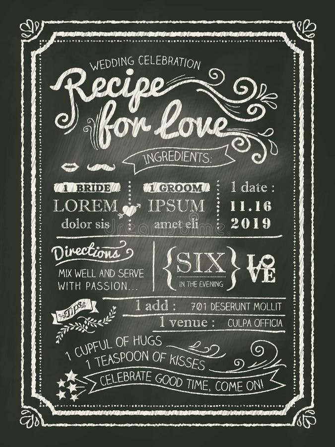 Συνταγή για την κάρτα γαμήλιας πρόσκλησης πινάκων κιμωλίας αγάπης απεικόνιση αποθεμάτων