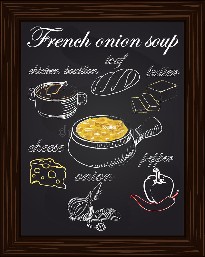 Συνταγή για τη σούπα κρεμμυδιών με τα πιπέρια, τυρί, βούτυρο, μια φραντζόλα, onio ελεύθερη απεικόνιση δικαιώματος