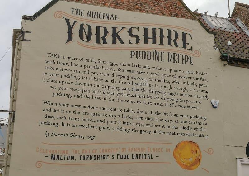 Συνταγή για το Yorkshire Pudding σε τοίχο Malton town North Yorkshire στοκ εικόνες με δικαίωμα ελεύθερης χρήσης