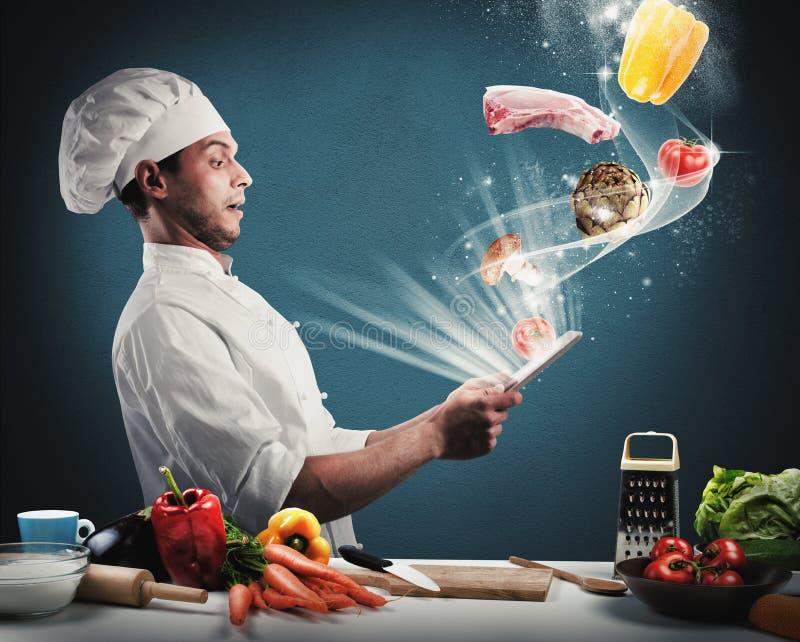 Συνταγή μαγειρέματος από την ταμπλέτα στοκ φωτογραφίες