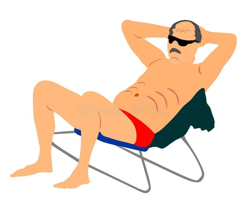 Συνταξιούχος ηληκιωμένος στη συνεδρίαση διακοπών στην καρέκλα παραλιών, απεικόνιση Πρεσβύτερος στην παραλία απεικόνιση αποθεμάτων