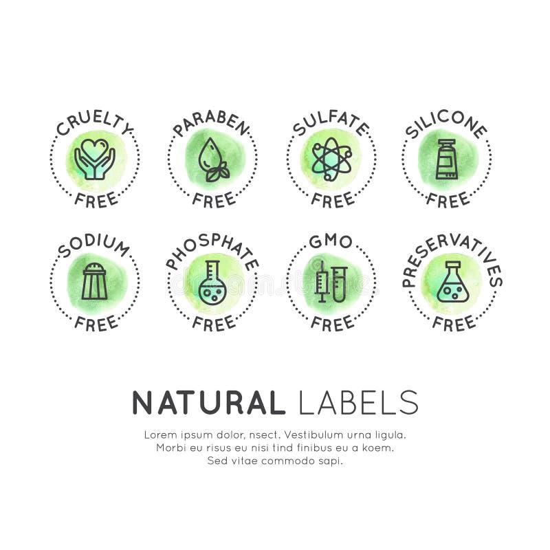 Συντηρητικές ελεύθερες οργανικές αυτοκόλλητες ετικέττες προϊόντων ελεύθερη απεικόνιση δικαιώματος