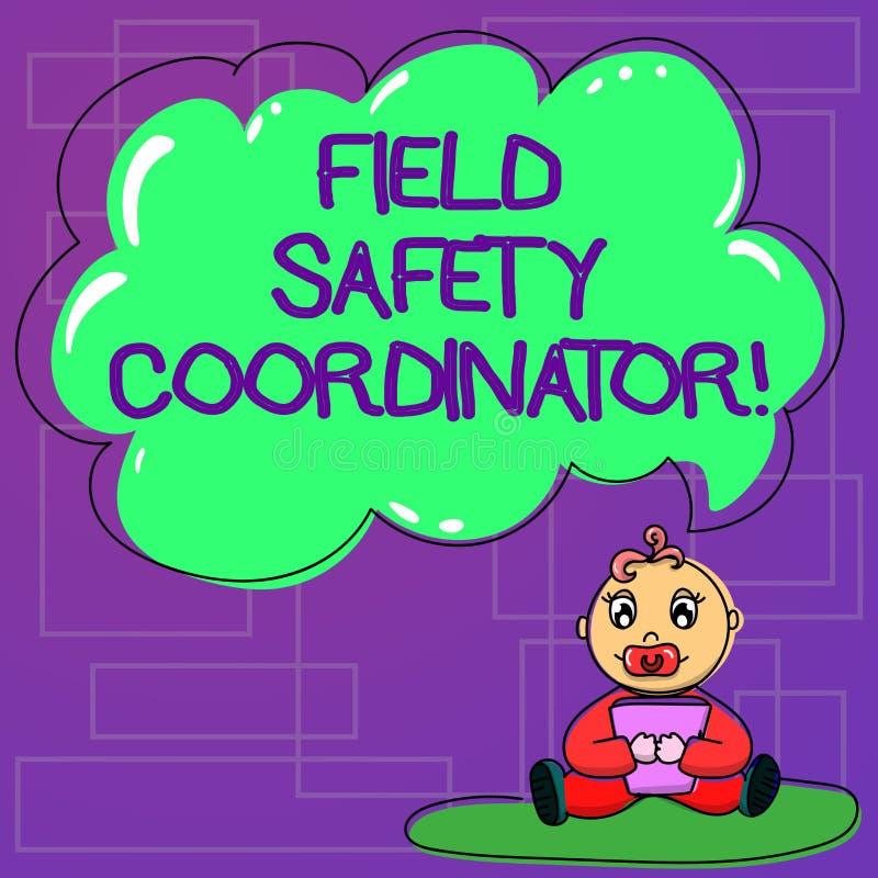 Συντονιστής ασφάλειας τομέων κειμένων γραφής Η έννοια έννοιας εξασφαλίζει συμμόρφωση με το μωρό προτύπων υγειών και ασφαλειών απεικόνιση αποθεμάτων
