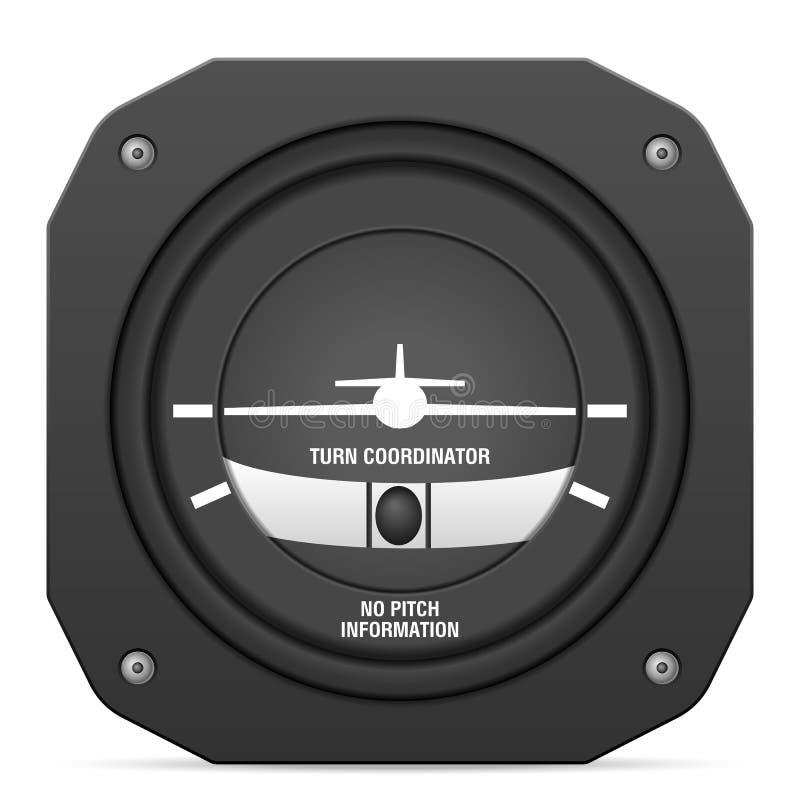 Συντονιστής στροφής οργάνων πτήσης διανυσματική απεικόνιση