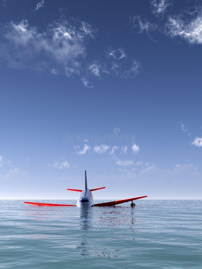 Συντριβή αεροπλάνων στη θάλασσα Στοκ Εικόνες