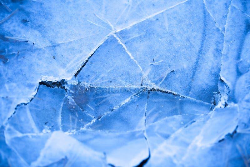 Συντριμμένος πάγος σε μια δασική, παγωμένη λίμνη, η κρούστα πάγου στοκ φωτογραφία με δικαίωμα ελεύθερης χρήσης