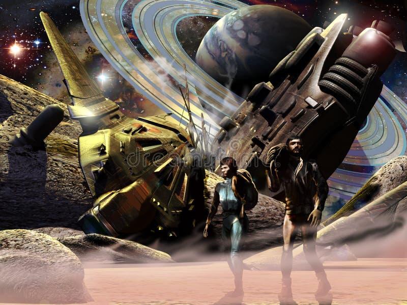 Συντριφθε'ν spaceship ελεύθερη απεικόνιση δικαιώματος