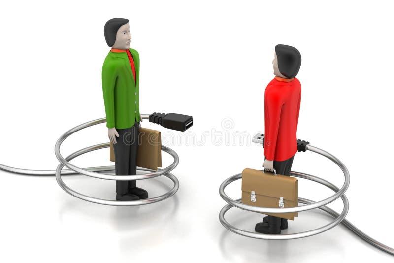 Συνδέοντας καλώδιο με τους ανθρώπους διανυσματική απεικόνιση