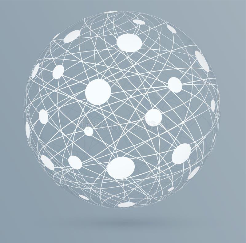 Συνδέσεις δικτύων με τους κύκλους, σφαιρικές ψηφιακές συνδέσεις απεικόνιση αποθεμάτων