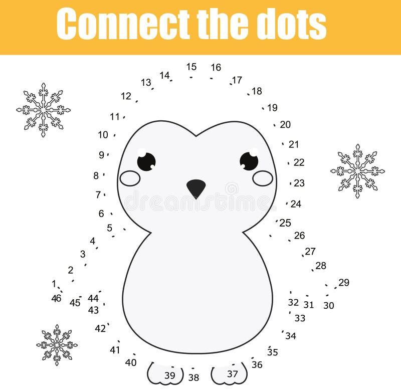 Συνδέστε τα σημεία από το εκπαιδευτικό παιχνίδι παιδιών αριθμών Εκτυπώσιμη δραστηριότητα φύλλων εργασίας Θέμα ζώων, penguin απεικόνιση αποθεμάτων