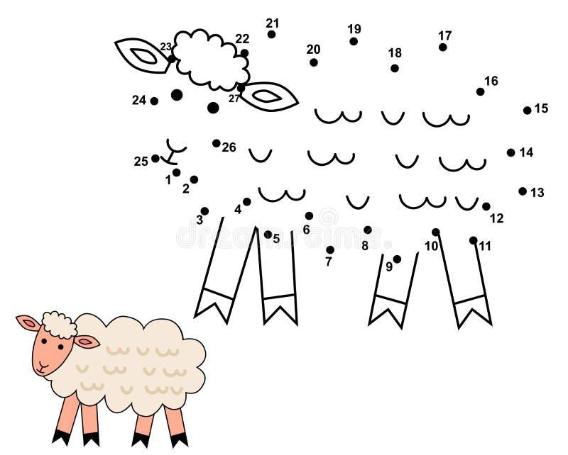Συνδέστε τα σημεία για να σύρετε τα χαριτωμένα πρόβατα διανυσματική απεικόνιση