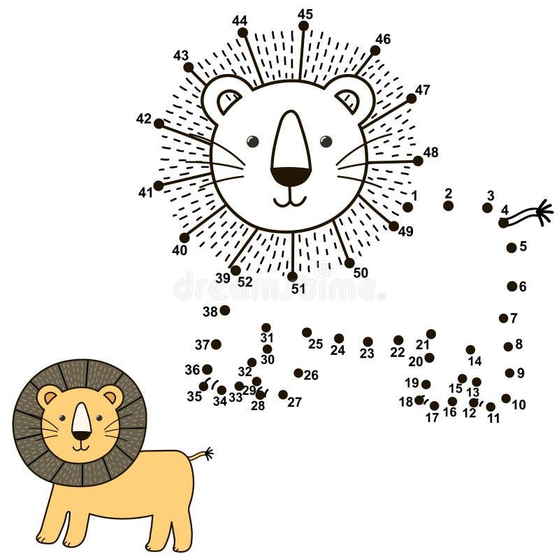 Συνδέστε τα σημεία για να σύρετε το χαριτωμένο λιοντάρι και να το χρωματίσετε διανυσματική απεικόνιση
