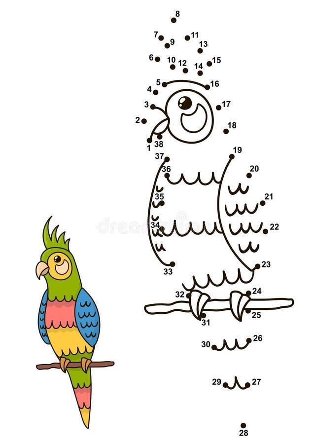 Συνδέστε τα σημεία για να σύρετε το χαριτωμένο παπαγάλο και να τον χρωματίσετε διανυσματική απεικόνιση