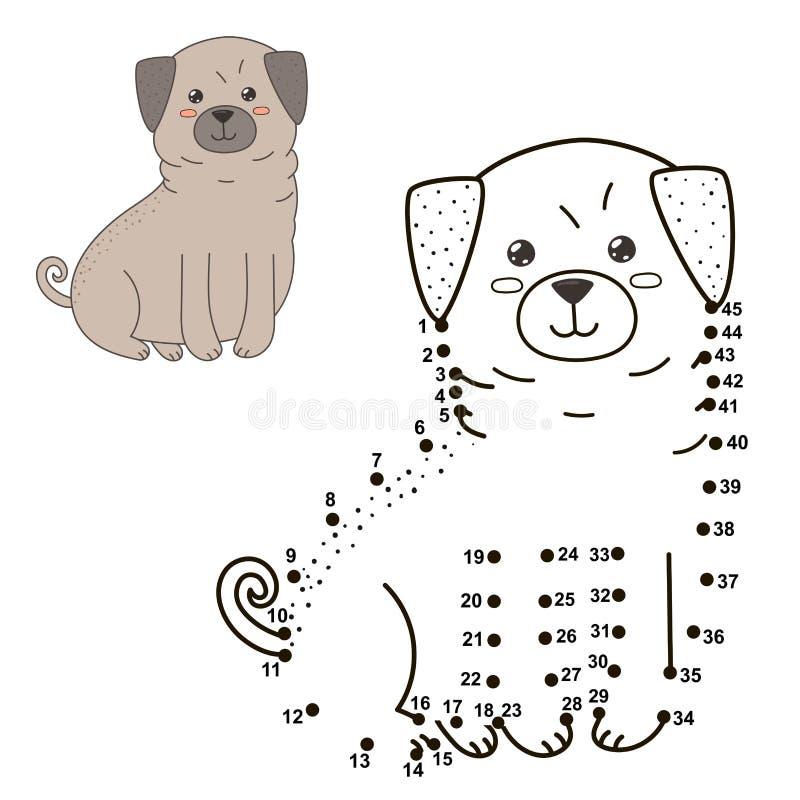 Συνδέστε τα σημεία για να σύρετε το χαριτωμένο σκυλί και να το χρωματίσετε διανυσματική απεικόνιση
