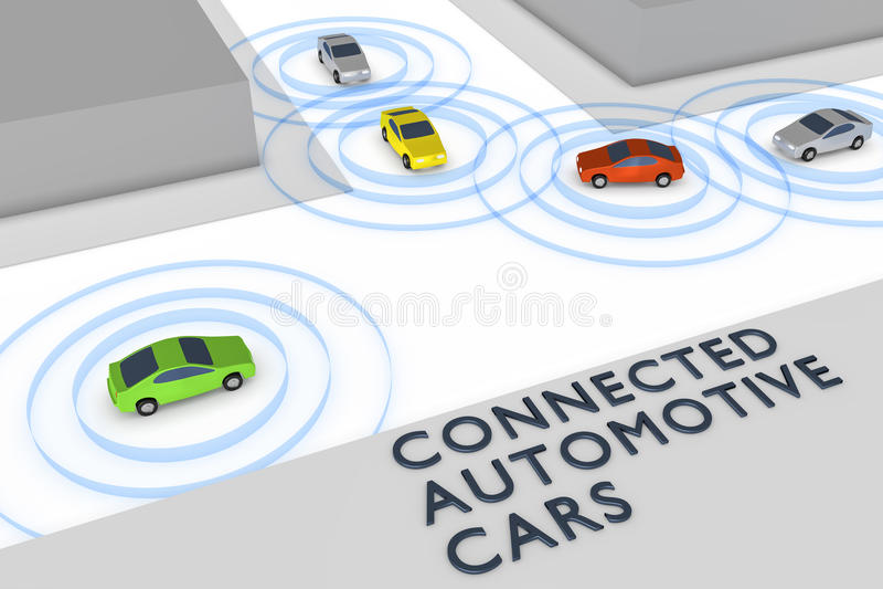 Συνδεδεμένα αυτόνομα αυτοκίνητα διανυσματική απεικόνιση