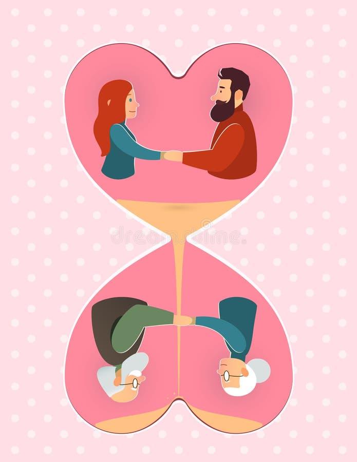 συνδεδεμένο διάνυσμα βαλεντίνων απεικόνισης s δύο καρδιών ημέρας γάμος αγάπης ηλικιωμένο ζεύγος, νέο ζεύγος διανυσματική απεικόνιση
