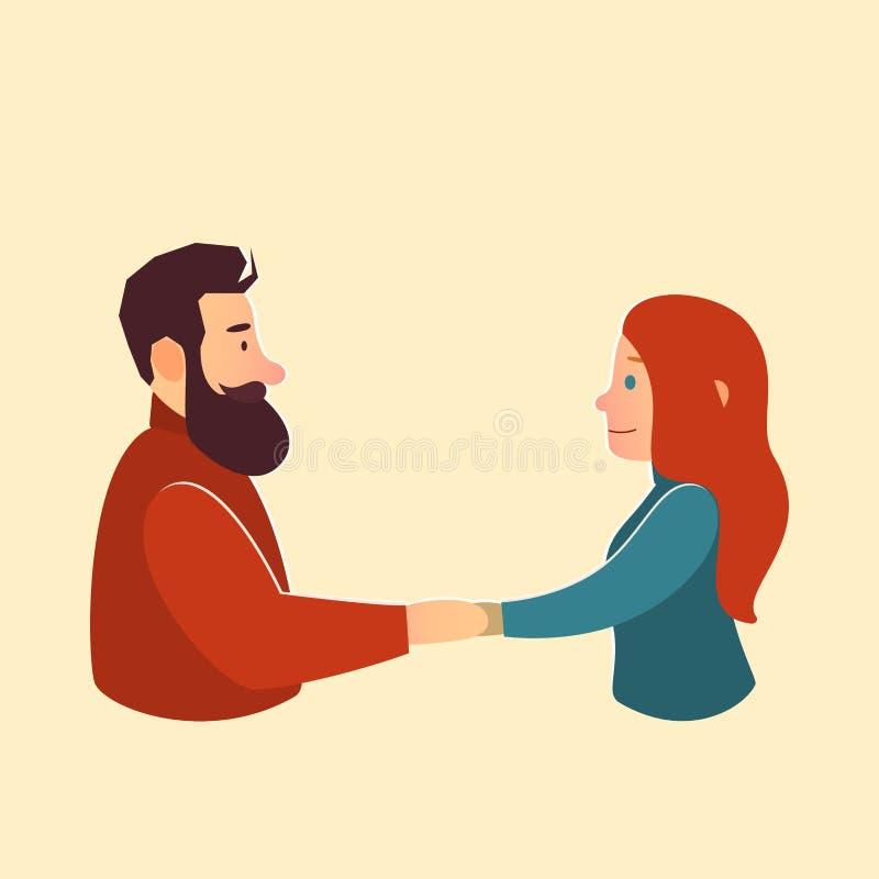 συνδεδεμένο διάνυσμα βαλεντίνων απεικόνισης s δύο καρδιών ημέρας καλή γυναίκα ανδρών χαιρετισμός ελεύθερη απεικόνιση δικαιώματος