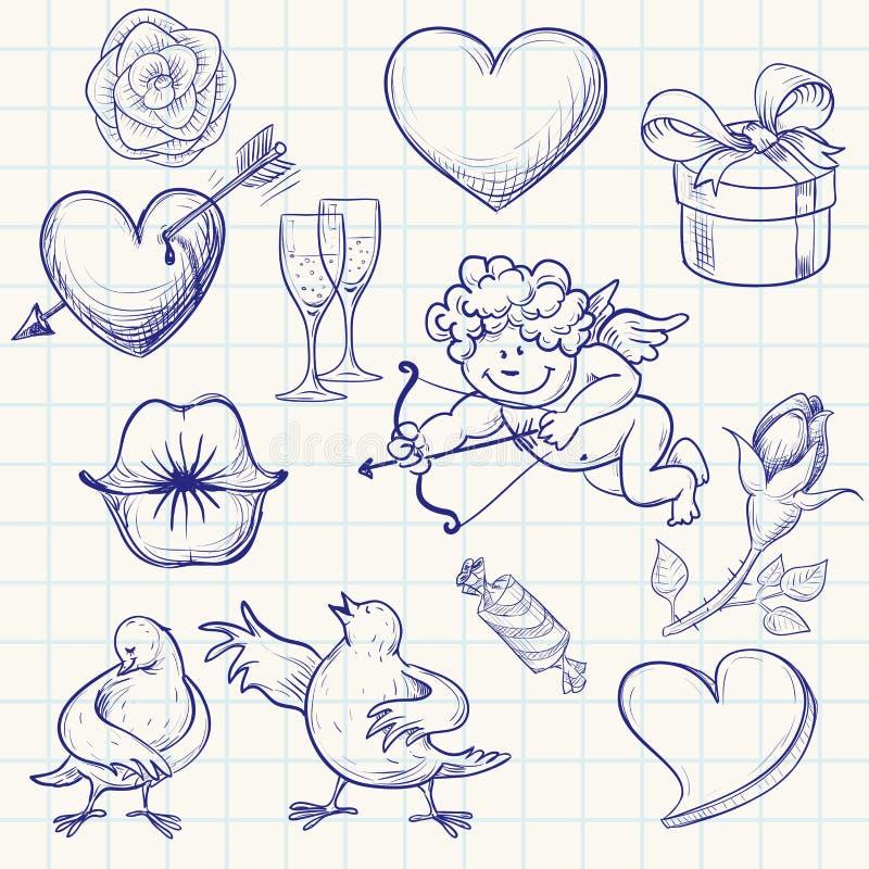 συνδεδεμένο διάνυσμα βαλεντίνων απεικόνισης s δύο καρδιών ημέρας διανυσματική απεικόνιση