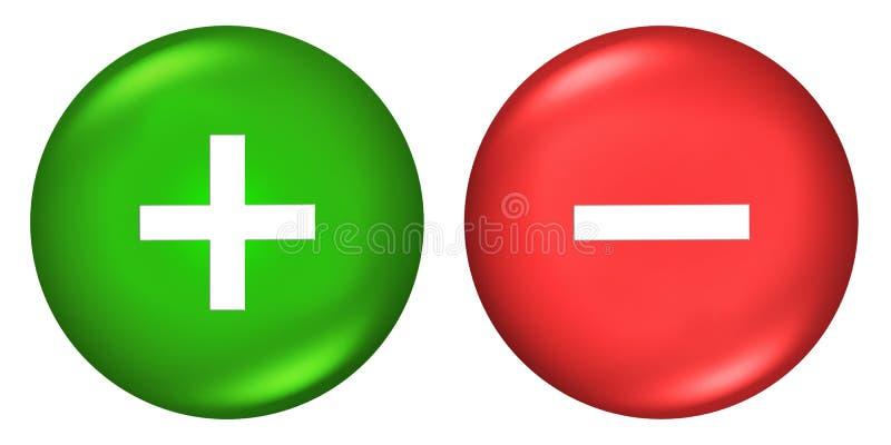 Συν και μείον τα κουμπιά σημαδιών απεικόνιση αποθεμάτων