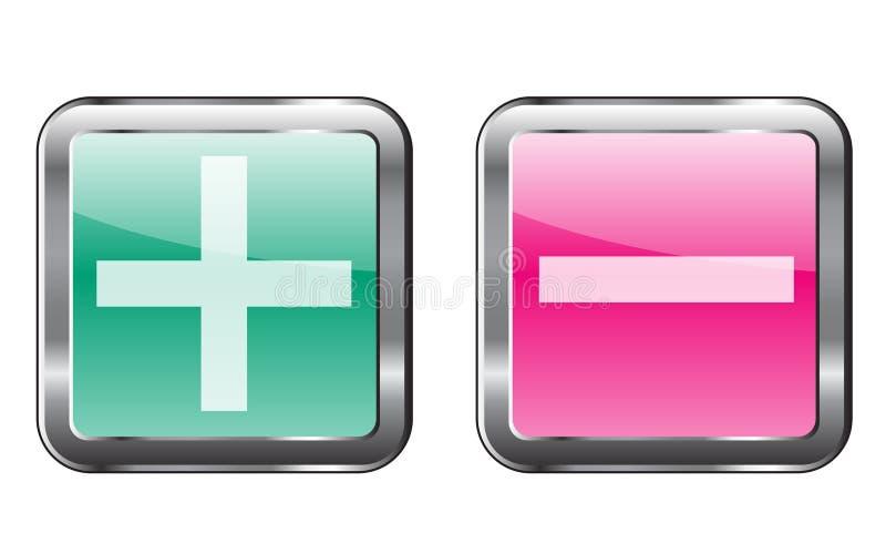 Συν και nunus κουμπιά απεικόνιση αποθεμάτων