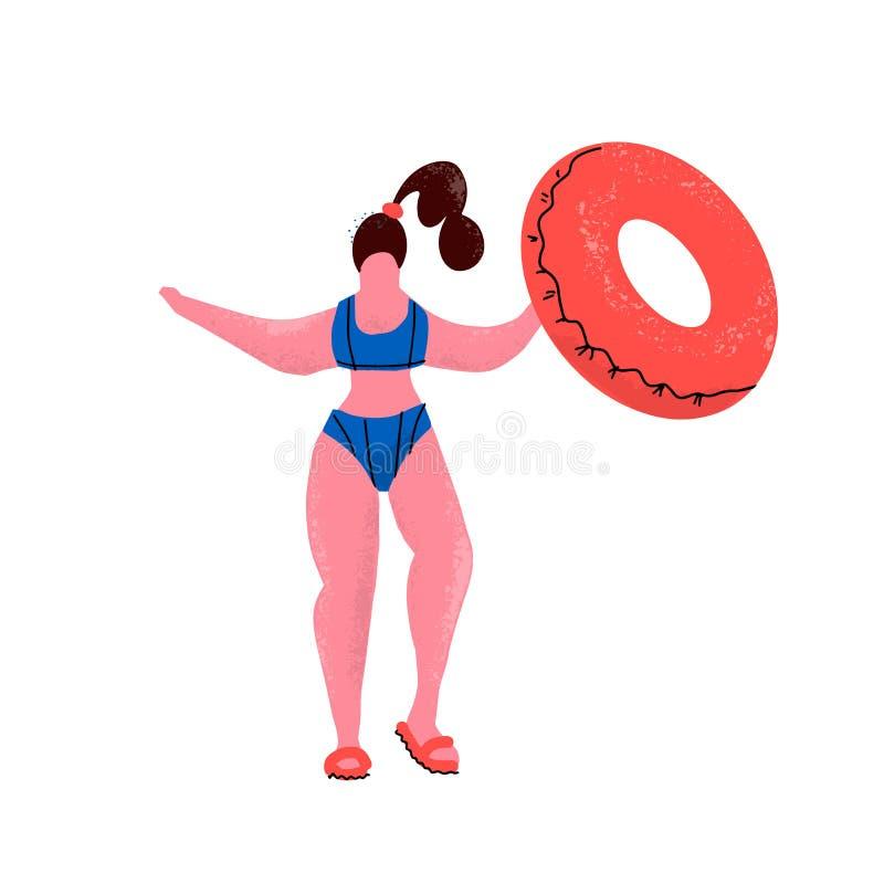 Συν τη γυναίκα μεγέθους με το λαστιχένιο δαχτυλίδι Κορίτσι στο μπικίνι με το διογκώσιμο κύκλο στην πισίνα Θετική γυναίκα στο κολυ διανυσματική απεικόνιση