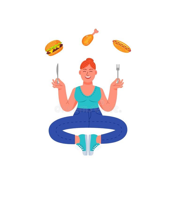 Συν το μέγεθος η γυναίκα σε μια περισυλλογή θέτει με το δίκρανο και το μαχαίρι στα χέρια και τα ανθυγειινά τρόφιμά της Burger, χο απεικόνιση αποθεμάτων