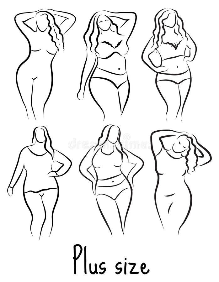 Συν το πρότυπο σκίτσο γυναικών μεγέθους Ύφος σχεδίων χεριών Λογότυπο μόδας με το υπερβολικό βάρος Σχέδιο εικονιδίων σωμάτων Curvy διανυσματική απεικόνιση