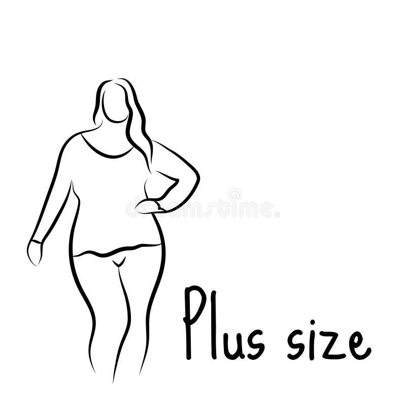 Συν το πρότυπο σκίτσο γυναικών μεγέθους Ύφος σχεδίων χεριών Λογότυπο μόδας με το υπερβολικό βάρος Σχέδιο εικονιδίων σωμάτων Curvy ελεύθερη απεικόνιση δικαιώματος