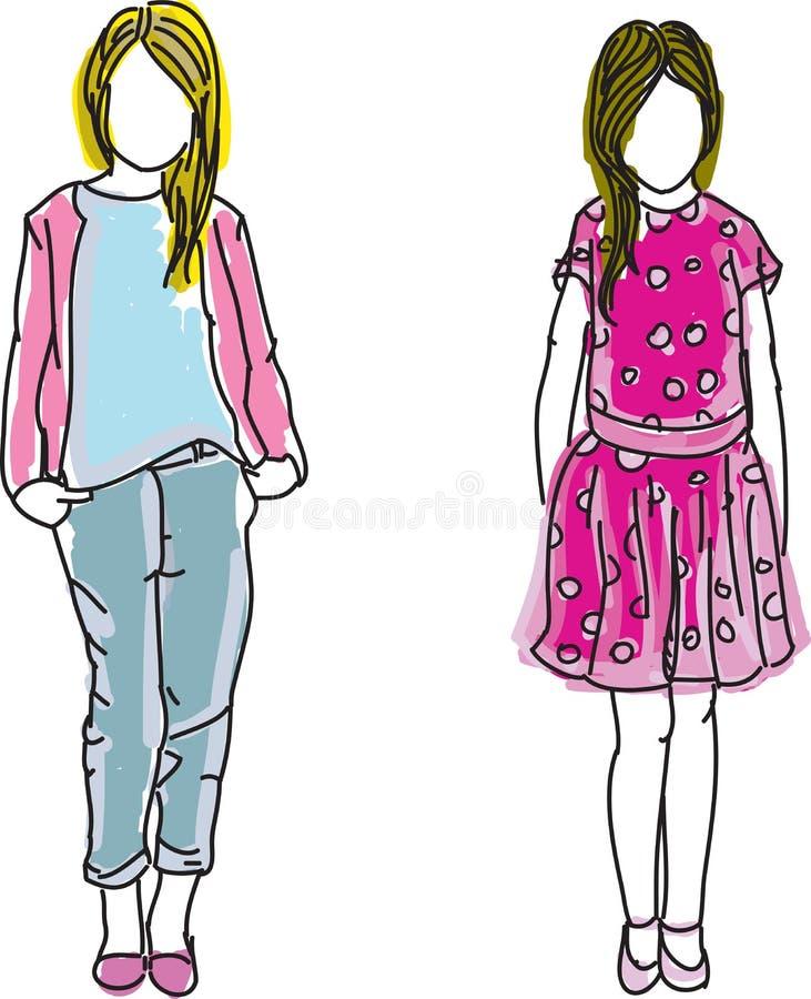 Συρμένα έγχρωμα κορίτσια διανυσματική απεικόνιση