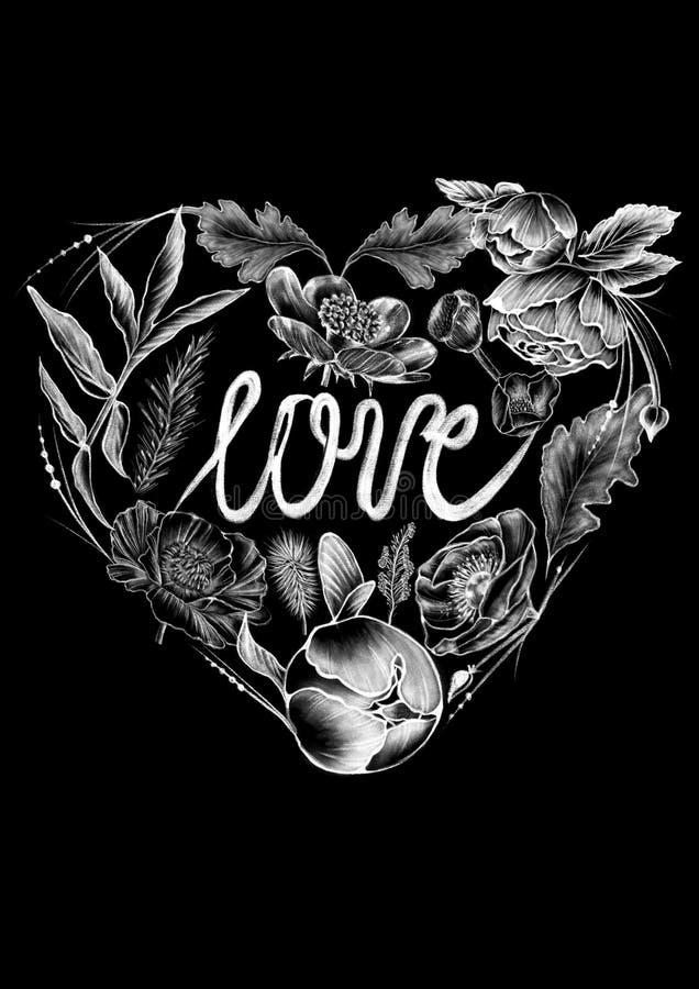 Συρμένα κιμωλία άσπρα λουλούδια ύφους, πλαίσια και λέξεις καλλιγραφίας στο επίπεδο μαύρο υπόβαθρο διανυσματική απεικόνιση