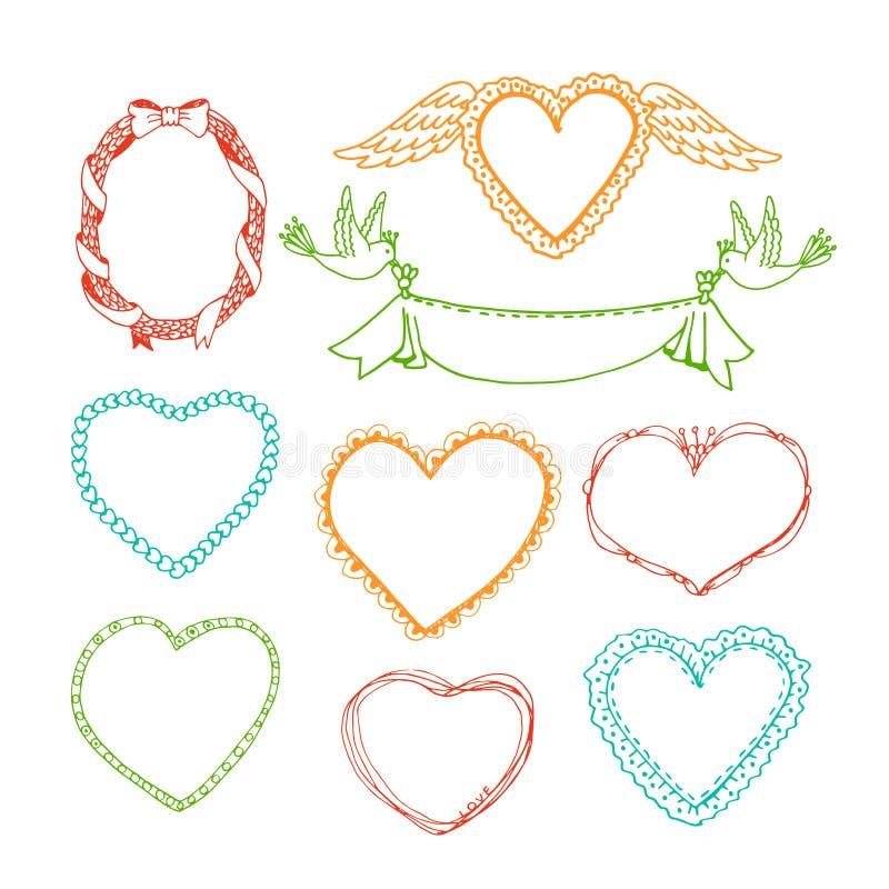 Συρμένα πλαίσια μορφής καρδιών Doodle χέρι και floral απεικόνιση αποθεμάτων