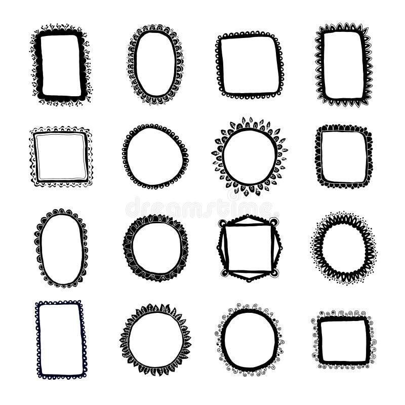 Συρμένα τα χέρι πλαίσια καθορισμένα το σύνολο διανυσματικής απεικόνισης 16 doodles Μαύρο σκίτσο περιλήψεων που απομονώνεται στο λ απεικόνιση αποθεμάτων