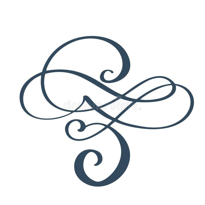 Συρμένα τα χέρι σύνορα ακμάζουν τα στοιχεία σχεδιαστών καλλιγραφίας διαχωριστών Διανυσματική εκλεκτής ποιότητας γαμήλια απεικόνισ διανυσματική απεικόνιση