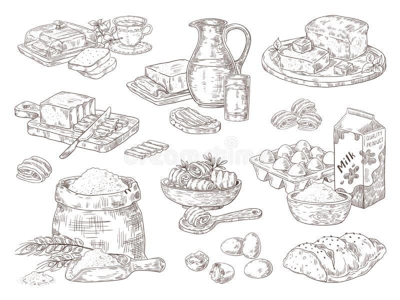 Συρμένα χέρι αγαθά αρτοποιείων Αυγά βουτύρου γάλακτος και μαγειρικά συστατικά αλευριού, σάντουιτς βουτύρου και ψωμιού Διάνυσμα πο διανυσματική απεικόνιση
