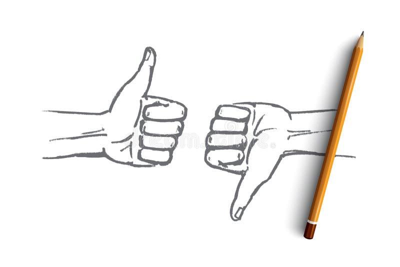Συρμένα χέρι ανθρώπινα χέρια με ομοειδή και την απέχθεια διανυσματική απεικόνιση