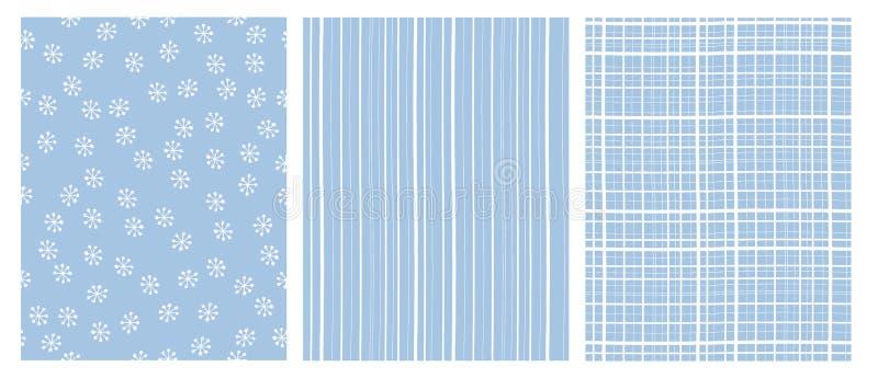 Συρμένα χέρι αφηρημένα διανυσματικά σχέδια Άσπρο και μπλε παιδικό σχέδιο Λωρίδες και νιφάδες χιονιού διανυσματική απεικόνιση