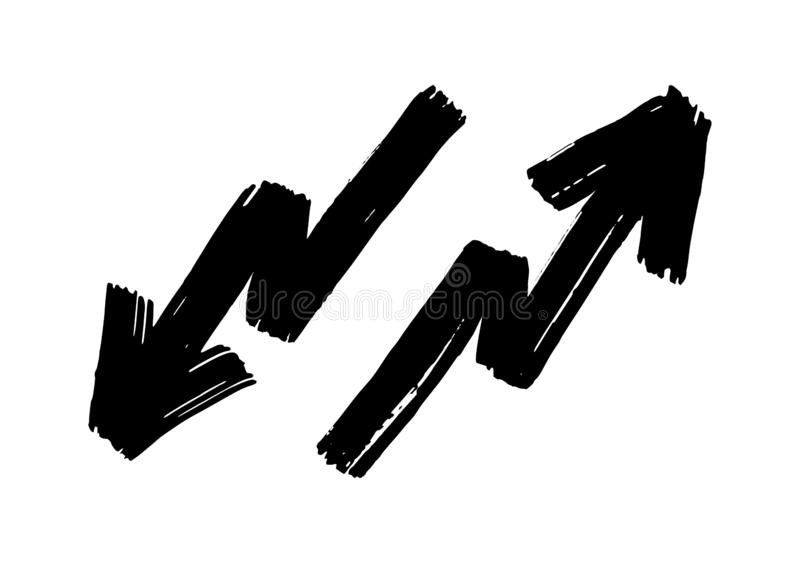Συρμένα χέρι βέλη τρεκλίσματος καθορισμένα απομονωμένα στο άσπρο υπόβαθρο Κτύπημα βουρτσών Σύσταση Grunge απεικόνιση αποθεμάτων