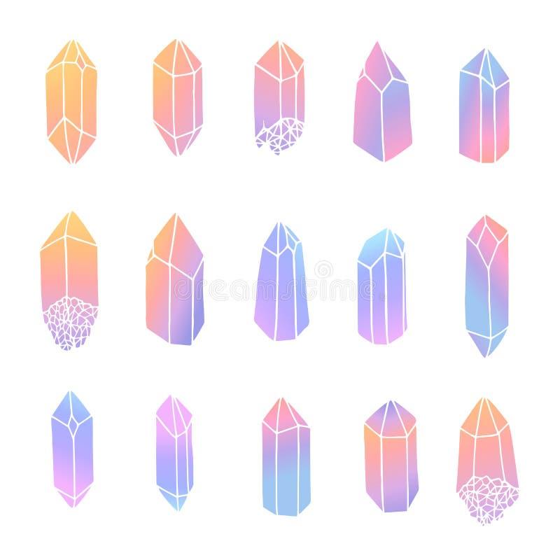 Συρμένα χέρι διανυσματικά κρύσταλλα καθορισμένα απομονωμένα στο άσπρο υπόβαθρο Πολύτιμοι λίθοι στα χρώματα κρητιδογραφιών ελεύθερη απεικόνιση δικαιώματος