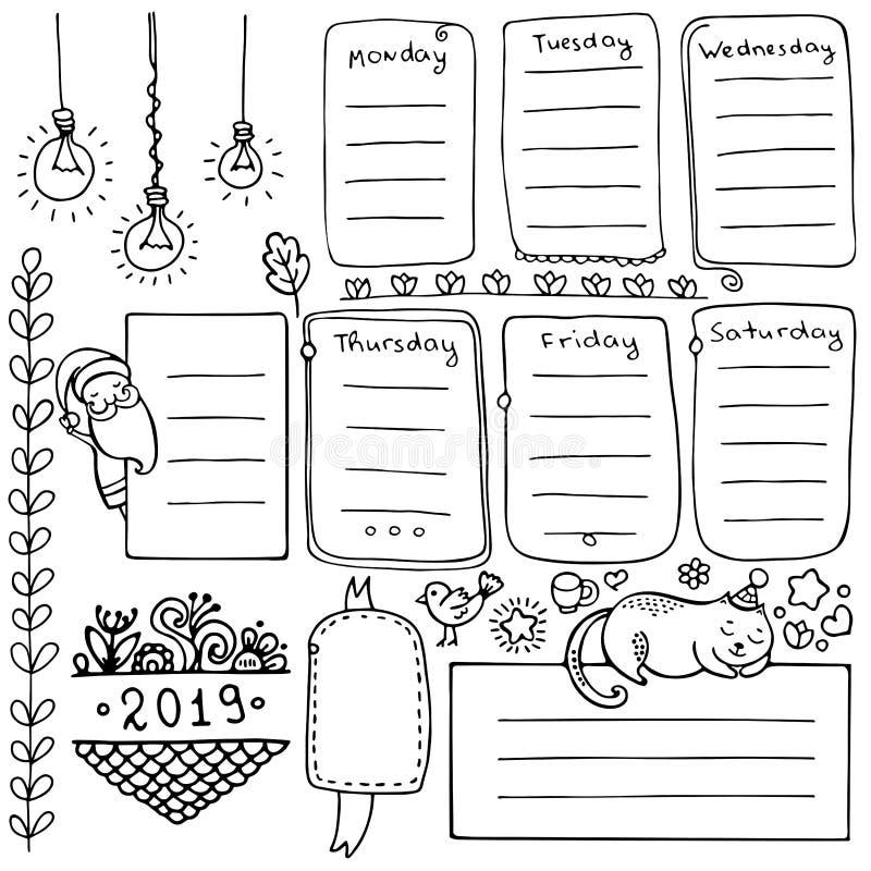Συρμένα χέρι διανυσματικά στοιχεία περιοδικών σφαιρών για το σημειωματάριο, το ημερολόγιο και τον αρμόδιο για το σχεδιασμό διανυσματική απεικόνιση