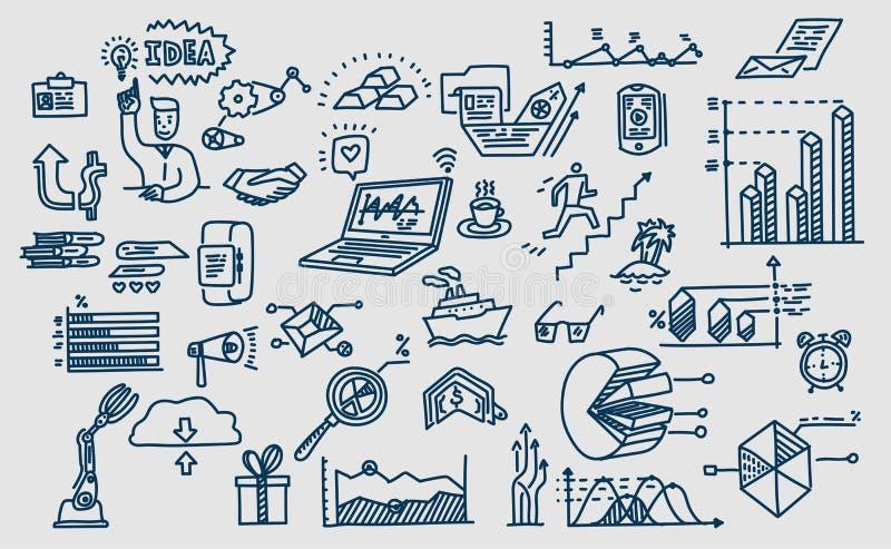 Συρμένα χέρι διανυσματικά στοιχεία, σύμβολα Επιχείρηση doodles απεικόνιση αποθεμάτων
