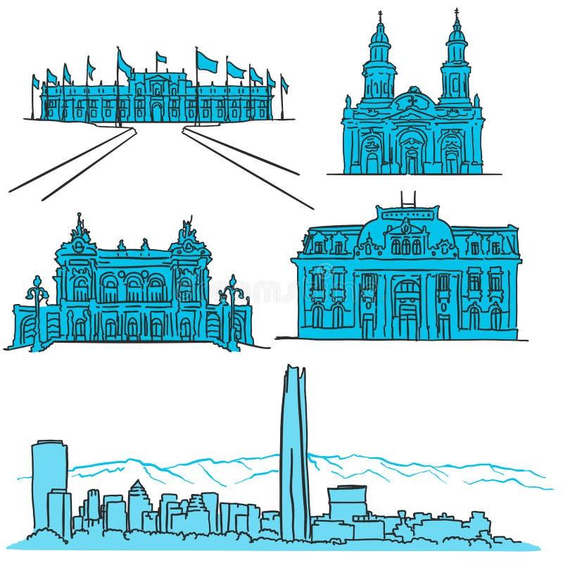 Συρμένα χέρι εικονίδια αρχιτεκτονικής του Σαντιάγο Χιλή διάσημα διανυσματική απεικόνιση